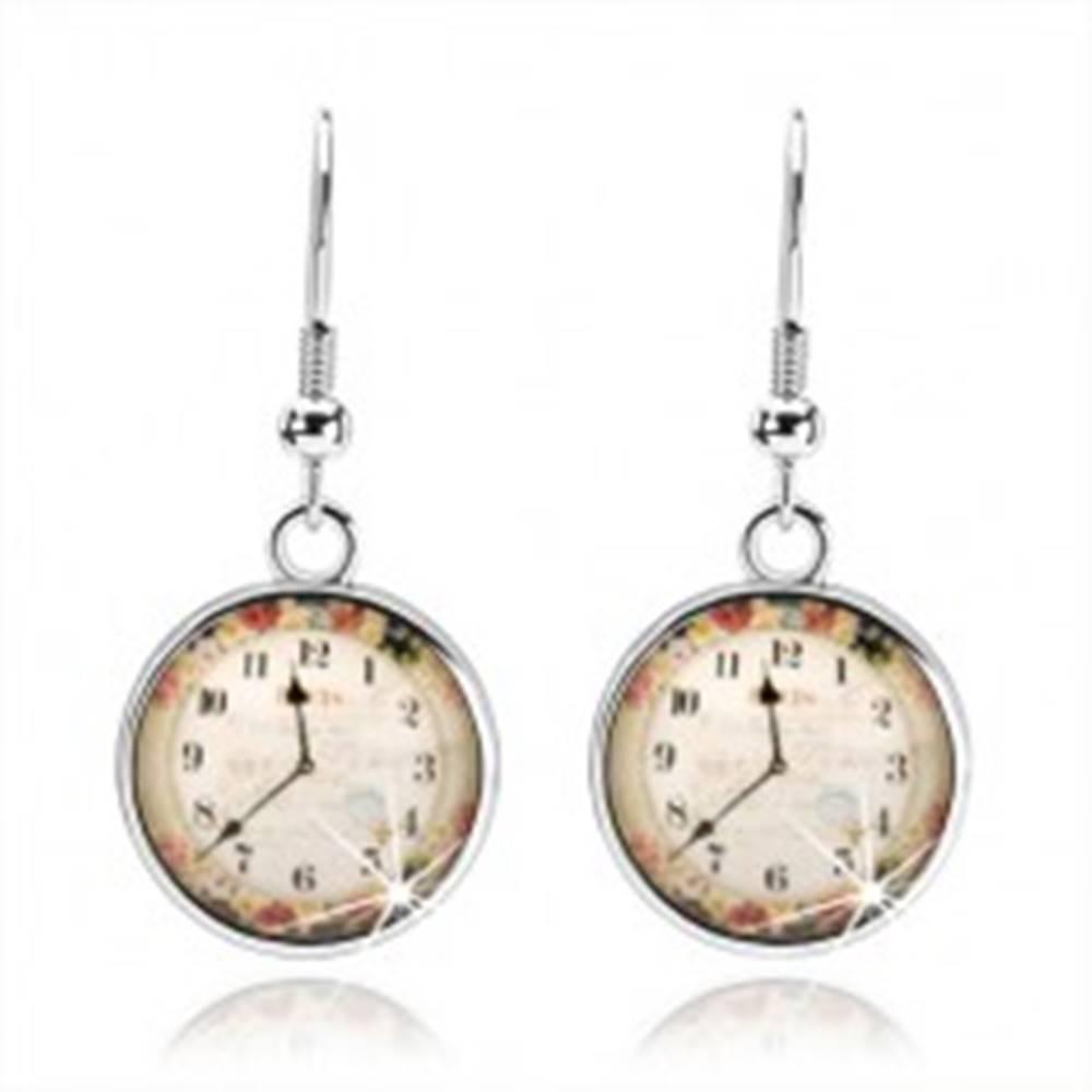 Šperky eshop Náušnice, štýl kabošon, priesvitná glazúra, obrázok hodiniek, farebné kvety