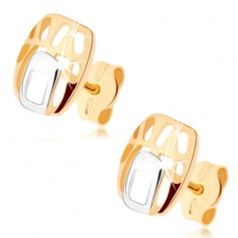Šperky eshop Náušnice v 9K zlate - obdĺžnik v dvojfarebnom prevedení s výrezmi