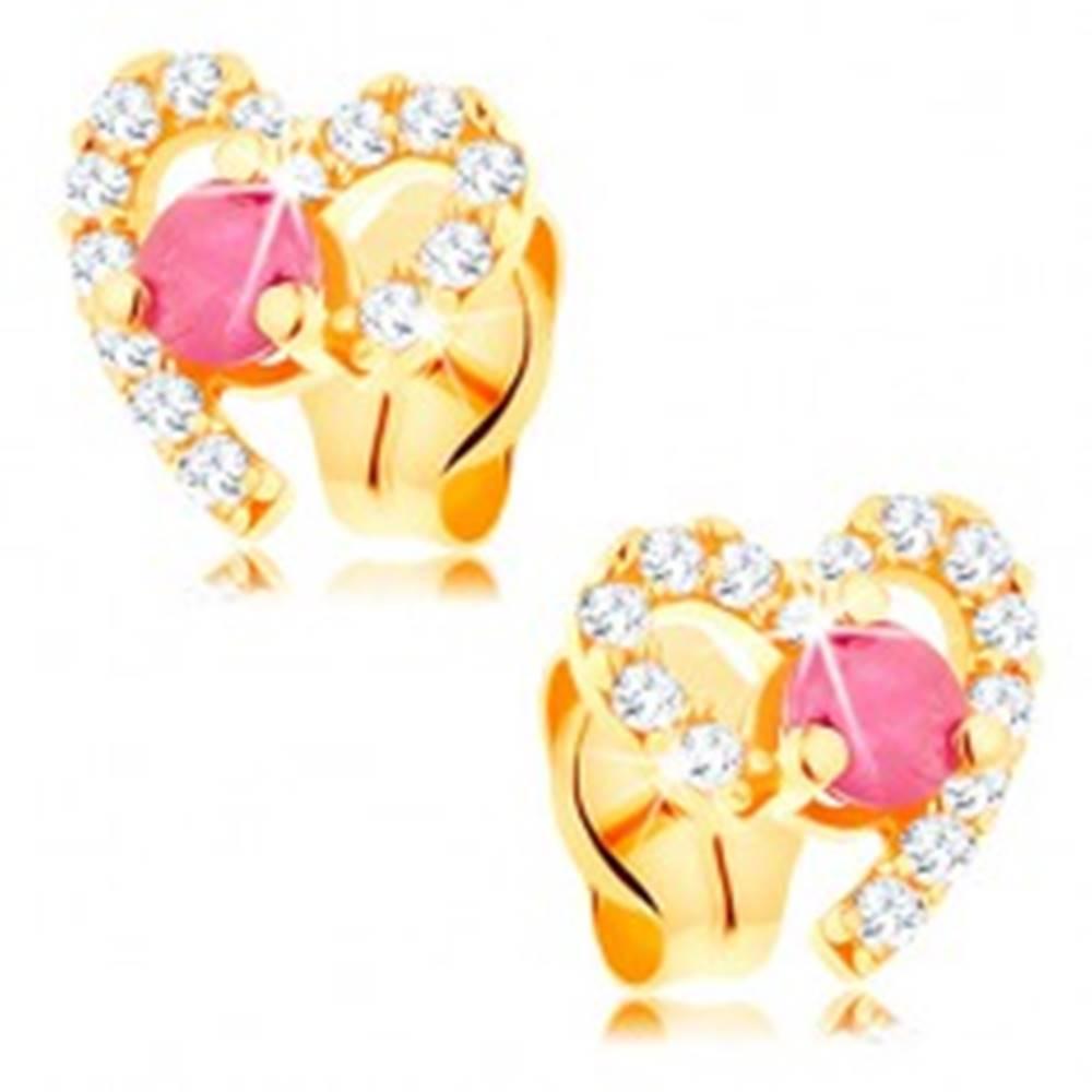 Šperky eshop Náušnice v žltom 14K zlate, obrys srdiečka zdobený čírymi zirkónmi a rubínom