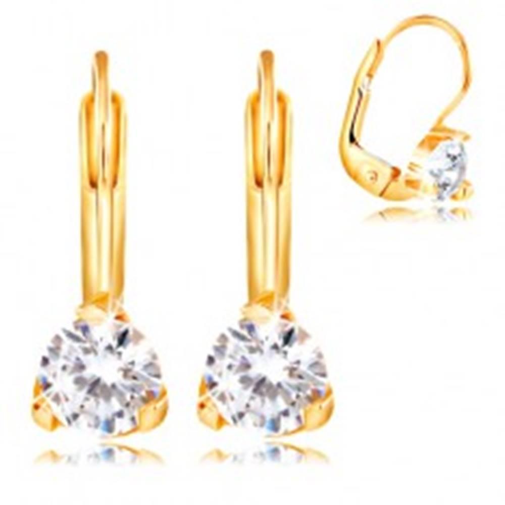 Šperky eshop Náušnice v žltom 14K zlate - trojcípy kotlík s okrúhlym čírym zirkónom, 4,5 mm