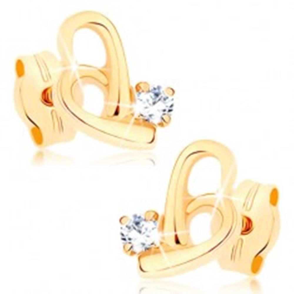 Šperky eshop Náušnice v žltom 9K zlate - obrys nepravidelného srdca, zirkón čírej farby
