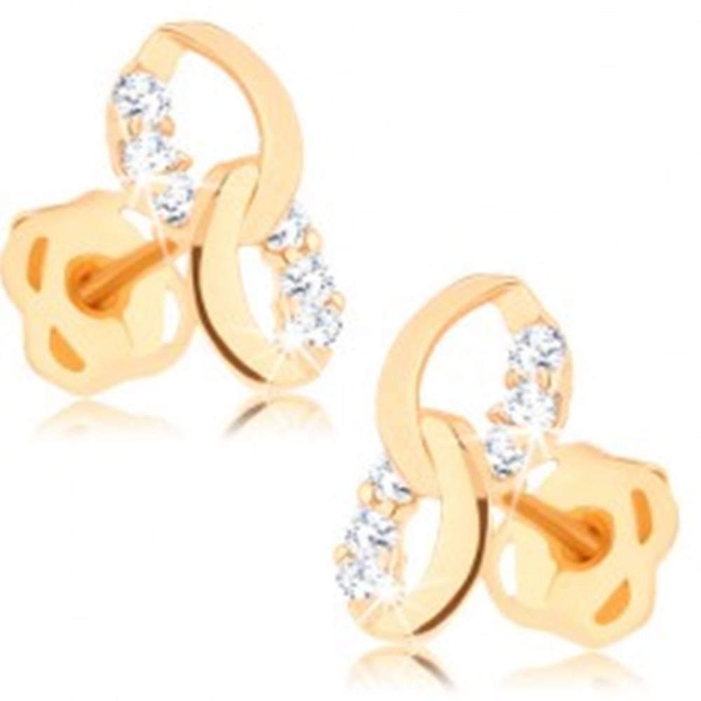 Šperky eshop Náušnice zo žltého 14K zlata - dve prepojené elipsy, línie čírych diamantov