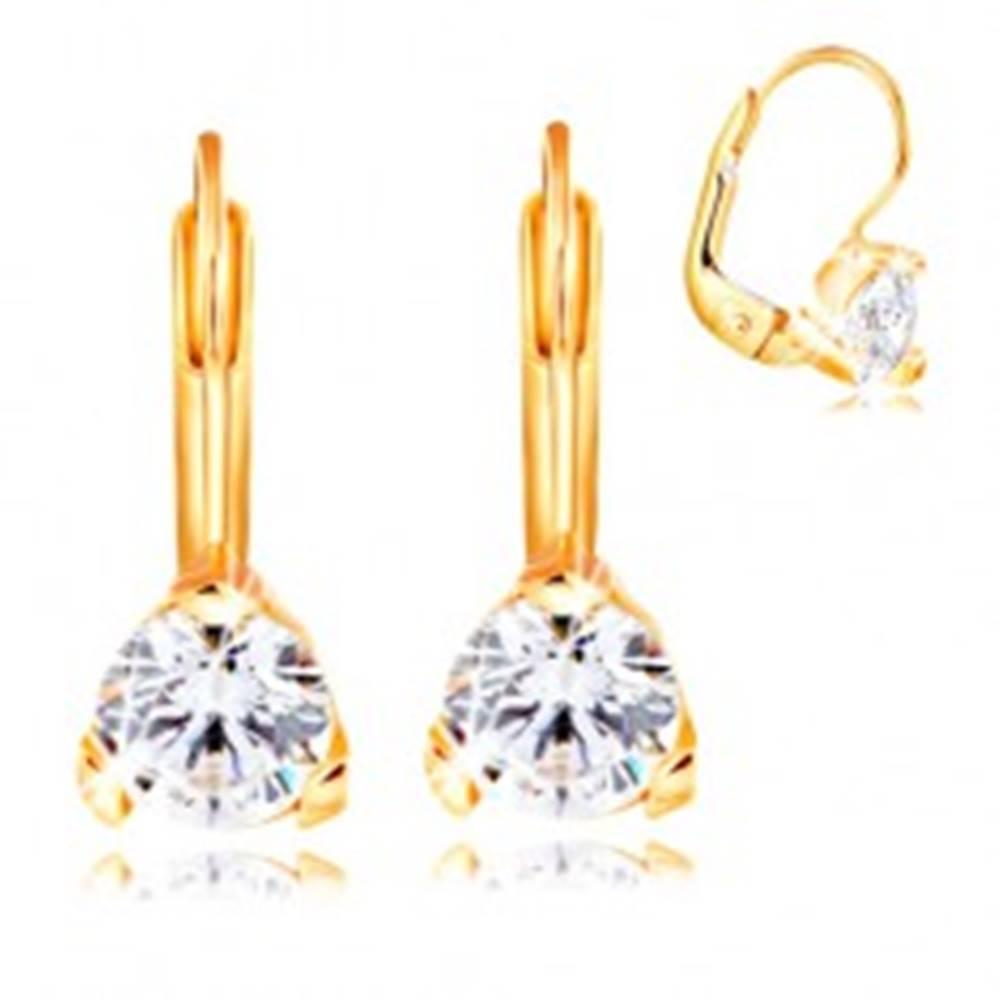 Šperky eshop Náušnice zo žltého 14K zlata - trojcípy kotlík s okrúhlym čírym zirkónom, 5 mm