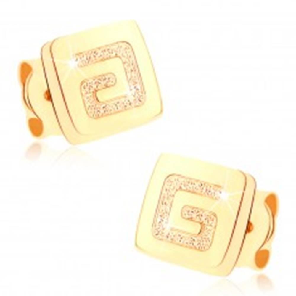 Šperky eshop Náušnice zo žltého 9K zlata - lesklý štvorček, pieskovaný grécky kľúč