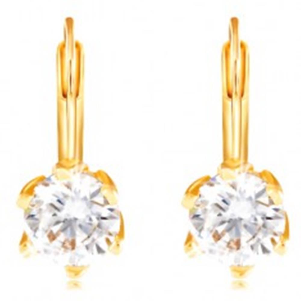 Šperky eshop Náušnice zo žltého zlata 585 - okrúhly číry zirkón v šesťcípom kotlíku, 5,5 mm