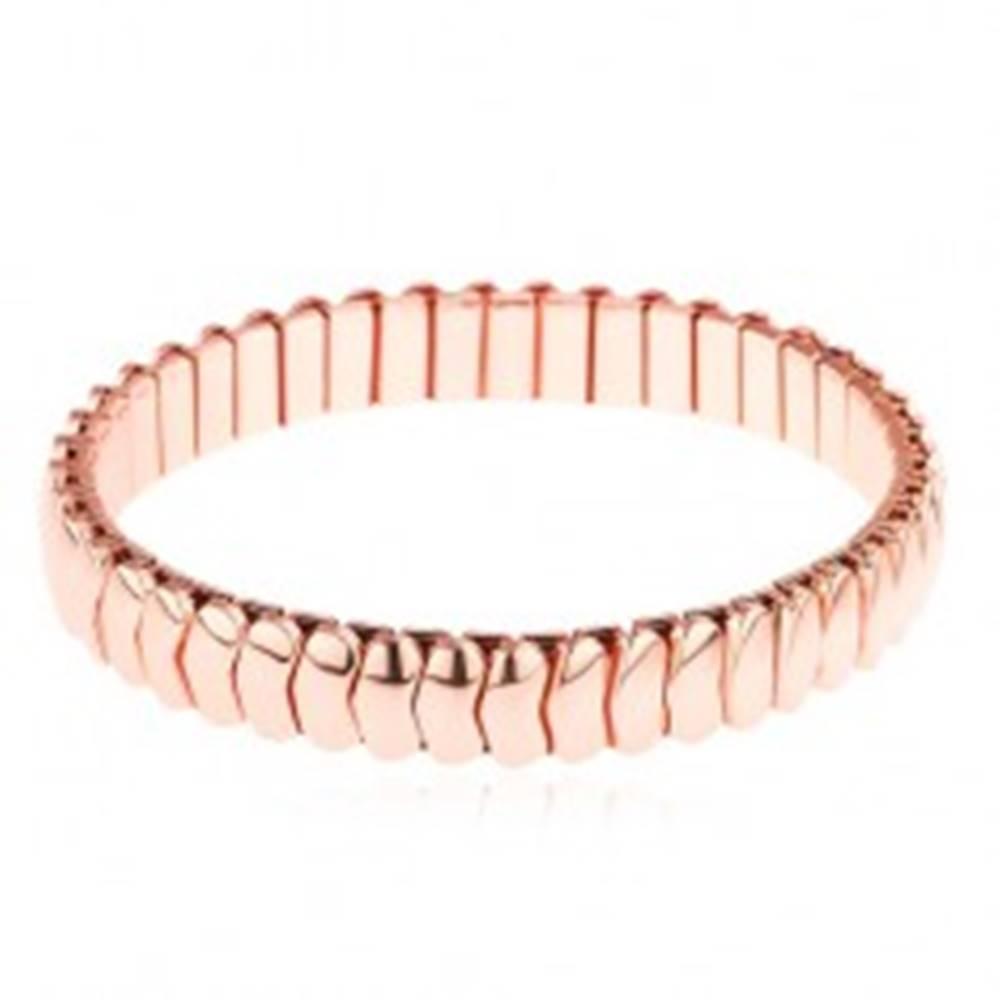 Šperky eshop Oceľový náramok v medenom odtieni, lesklé zahnuté články, rozťahovací