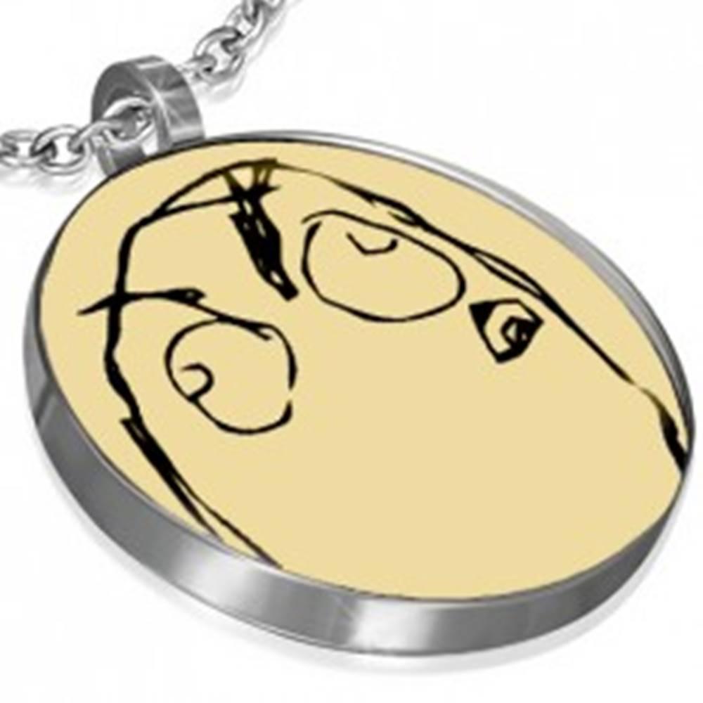 Šperky eshop Oceľový prívesok - INIMICAL MEME FACE, okrúhly