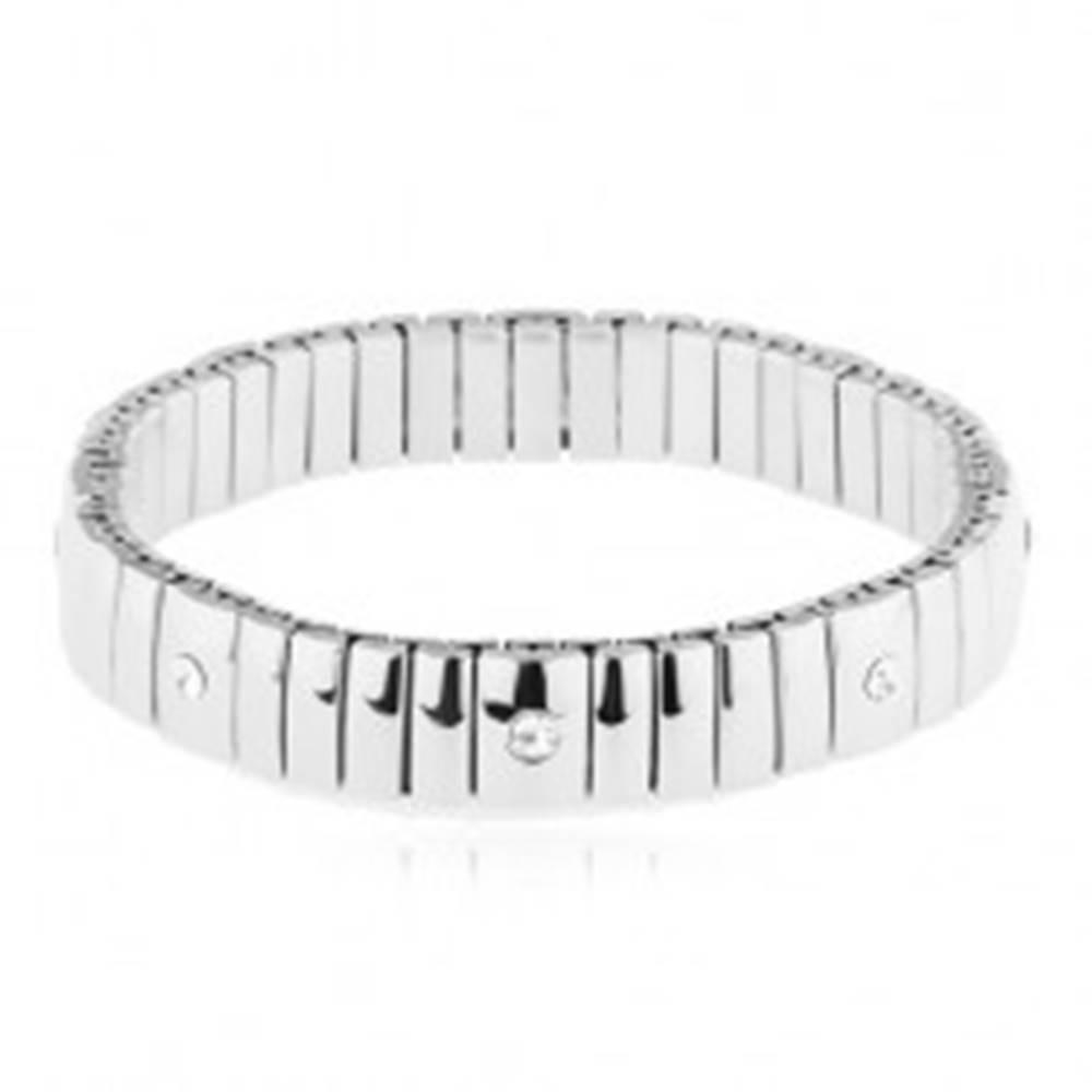 Šperky eshop Oceľový strečový náramok, úzke a širšie pozdĺžne pásy, číre zirkóny