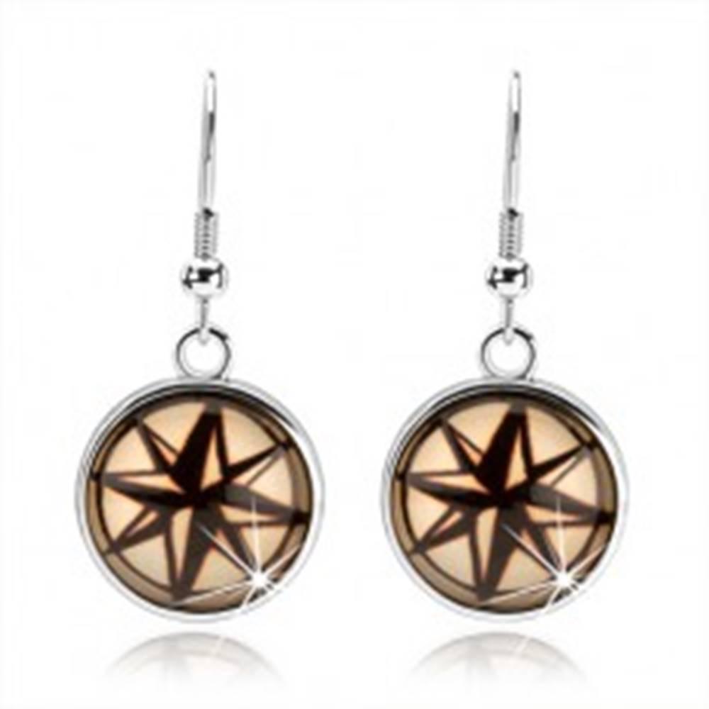Šperky eshop Okrúhle náušnice v cabochon štýle, čierno-krémová hviezda s ôsmimi cípmi