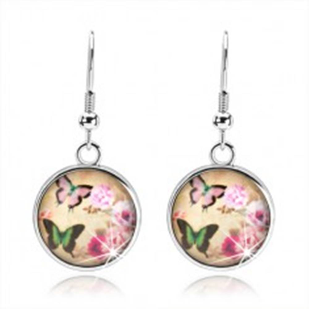 Šperky eshop Okrúhle náušnice v štýle cabochon, dva pestrofarebné motýle, ružové kvety