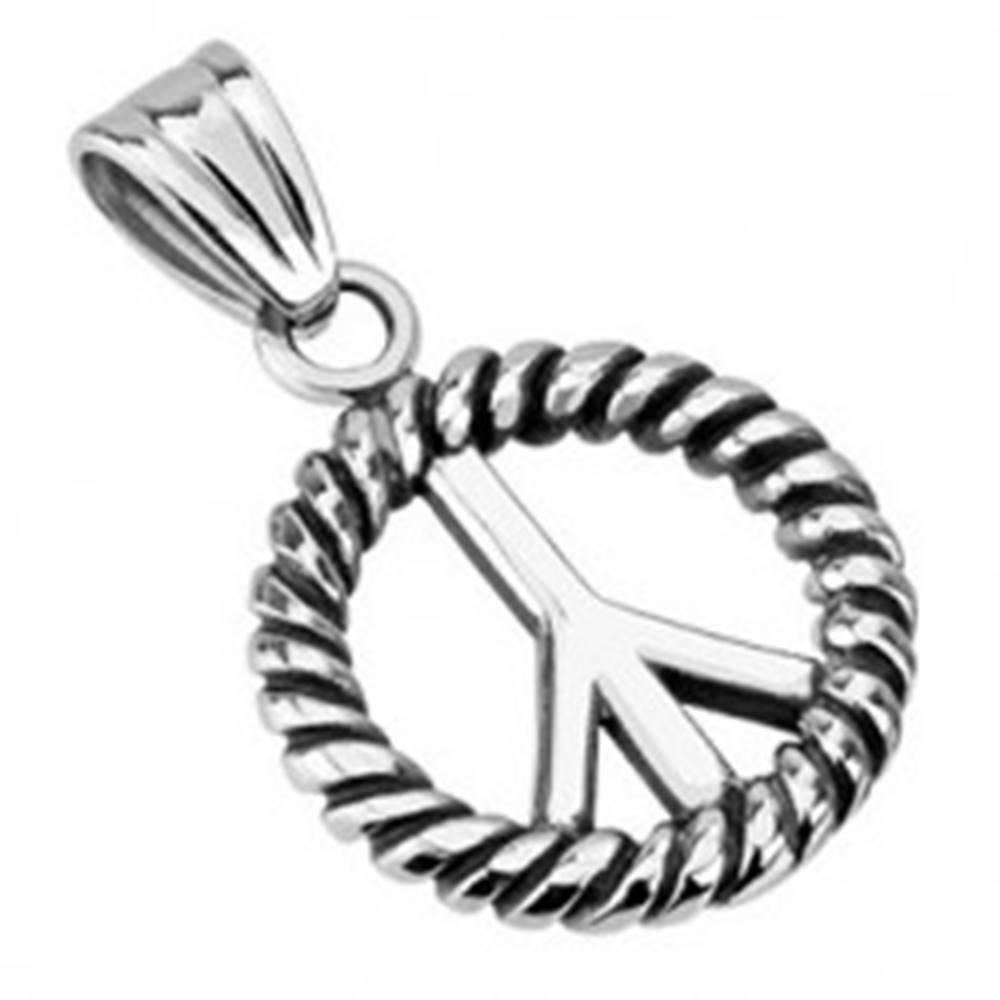 Šperky eshop Patinovaný prívesok z ocele točený kruh - Peace