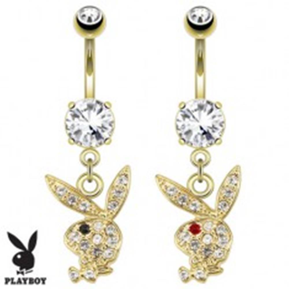 Šperky eshop Piercing do brucha, zlatá farba, hlava zajačika Playboy, číre zirkóny - Farba zirkónu: Číra - Červená