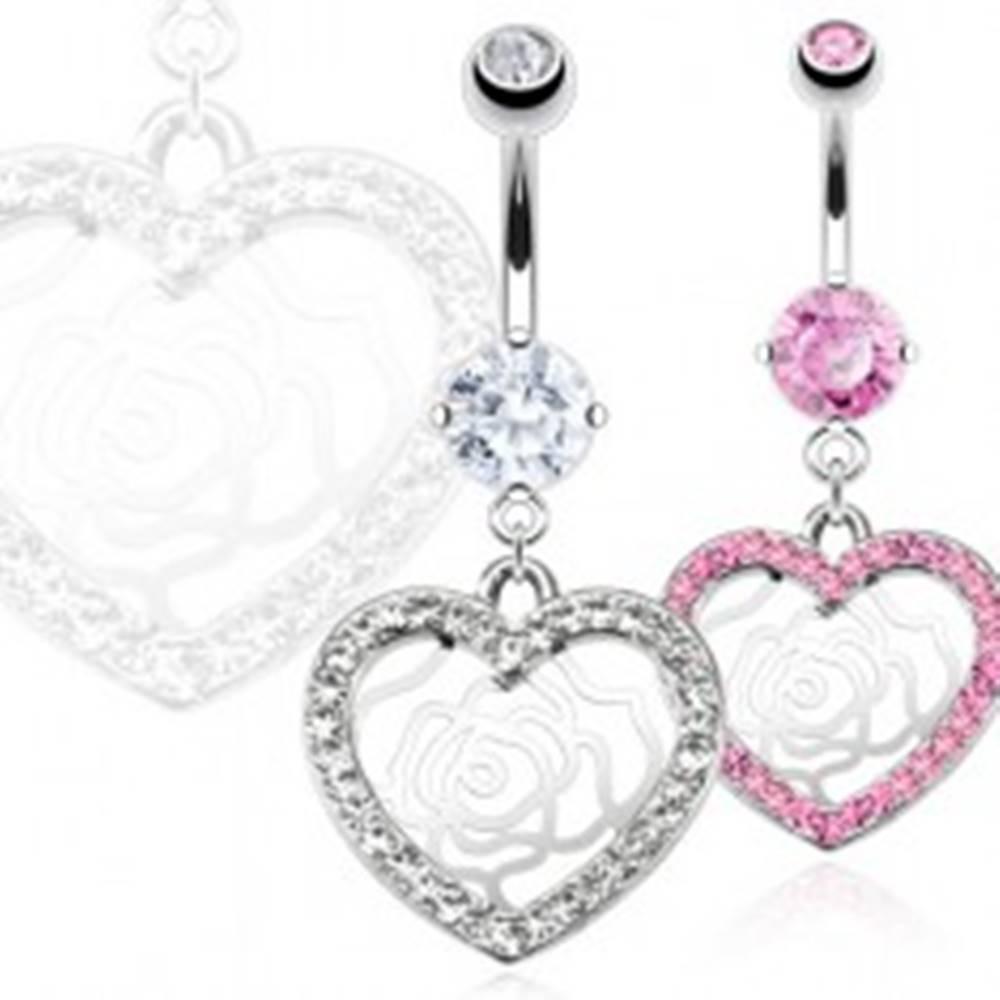 Šperky eshop Piercing do pupka z ocele - zirkónové srdce, ruža - Farba: Číra