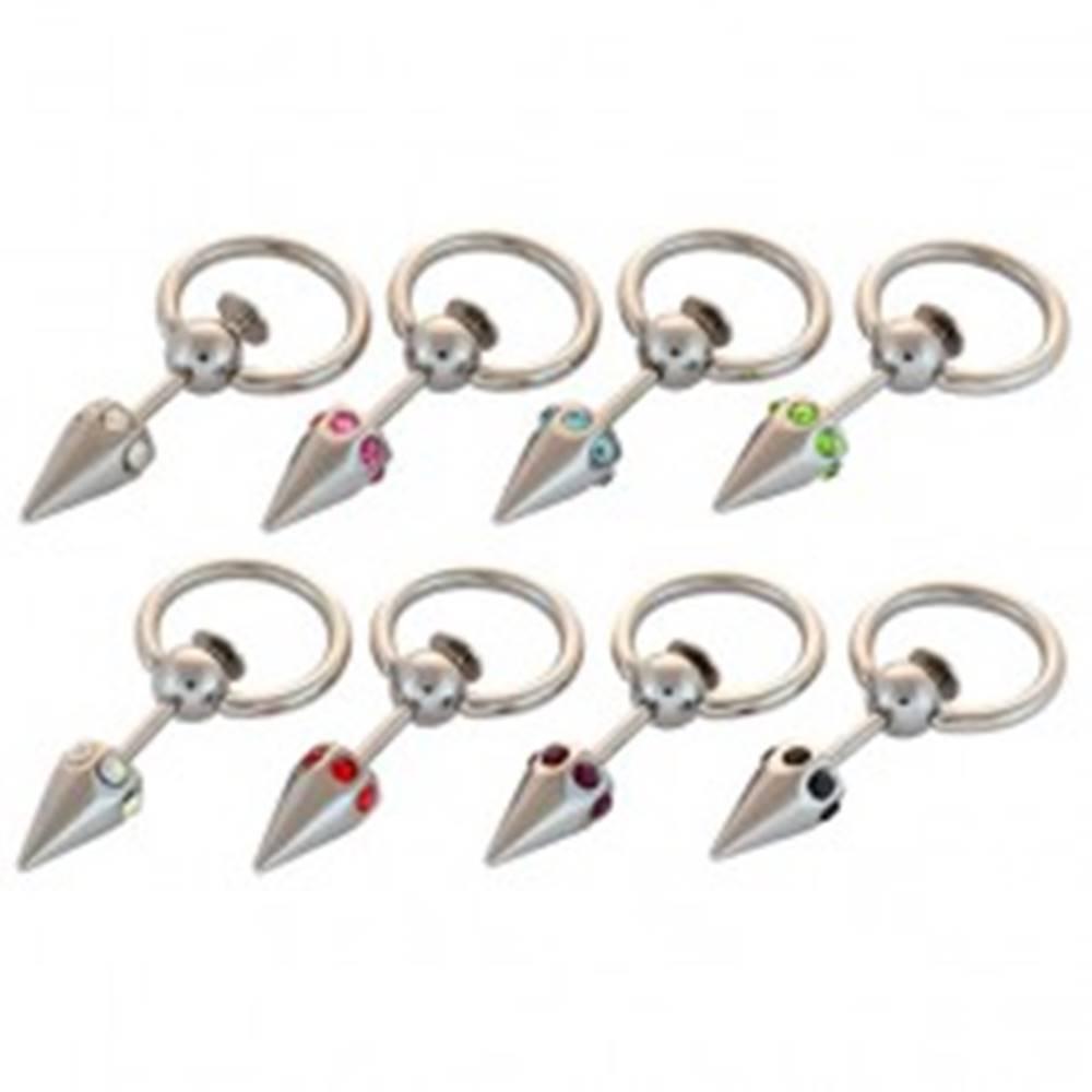 Šperky eshop Piercing - krúžok, špic a vsadené farebné zirkóniky - Farba zirkónu: Aqua modrá - Q