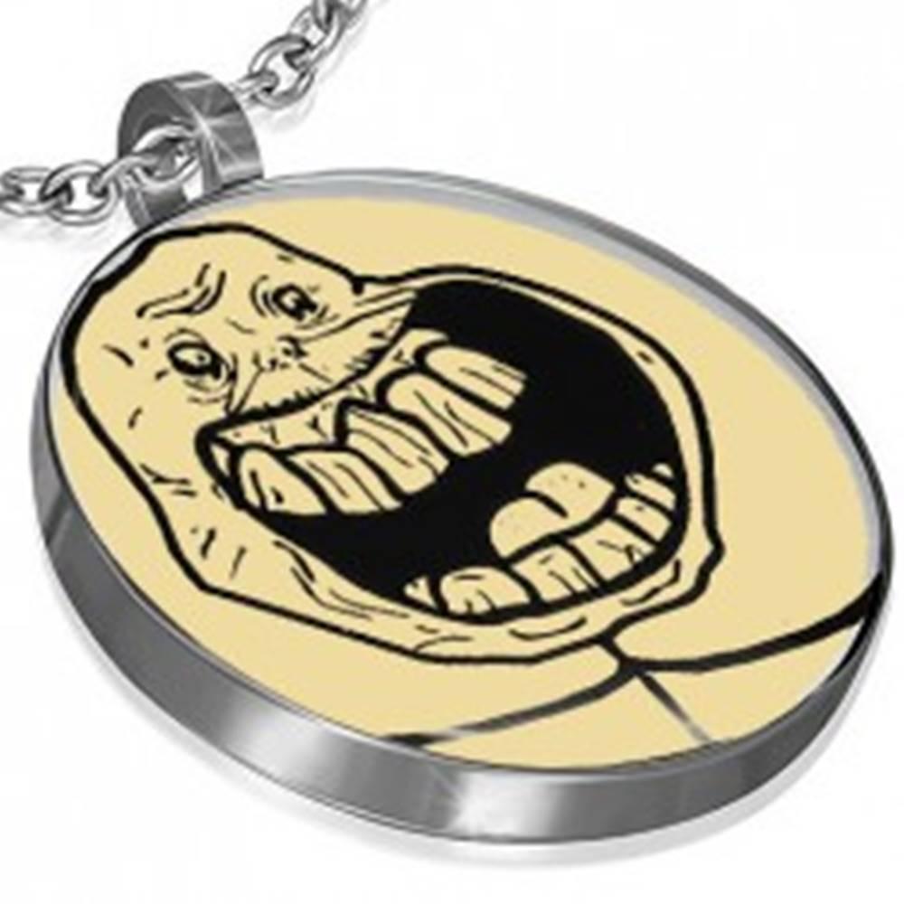 Šperky eshop Prívesok MEME z ocele - FOREVER ALONE EXCITED