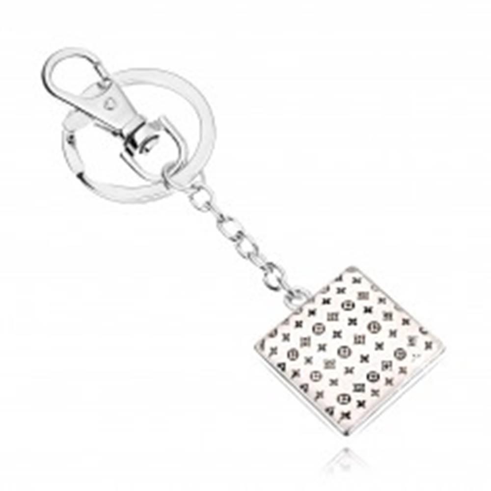 Šperky eshop Prívesok na kľúče kabošon, štvorec s glazúrou, drobný vzor na bielom podklade