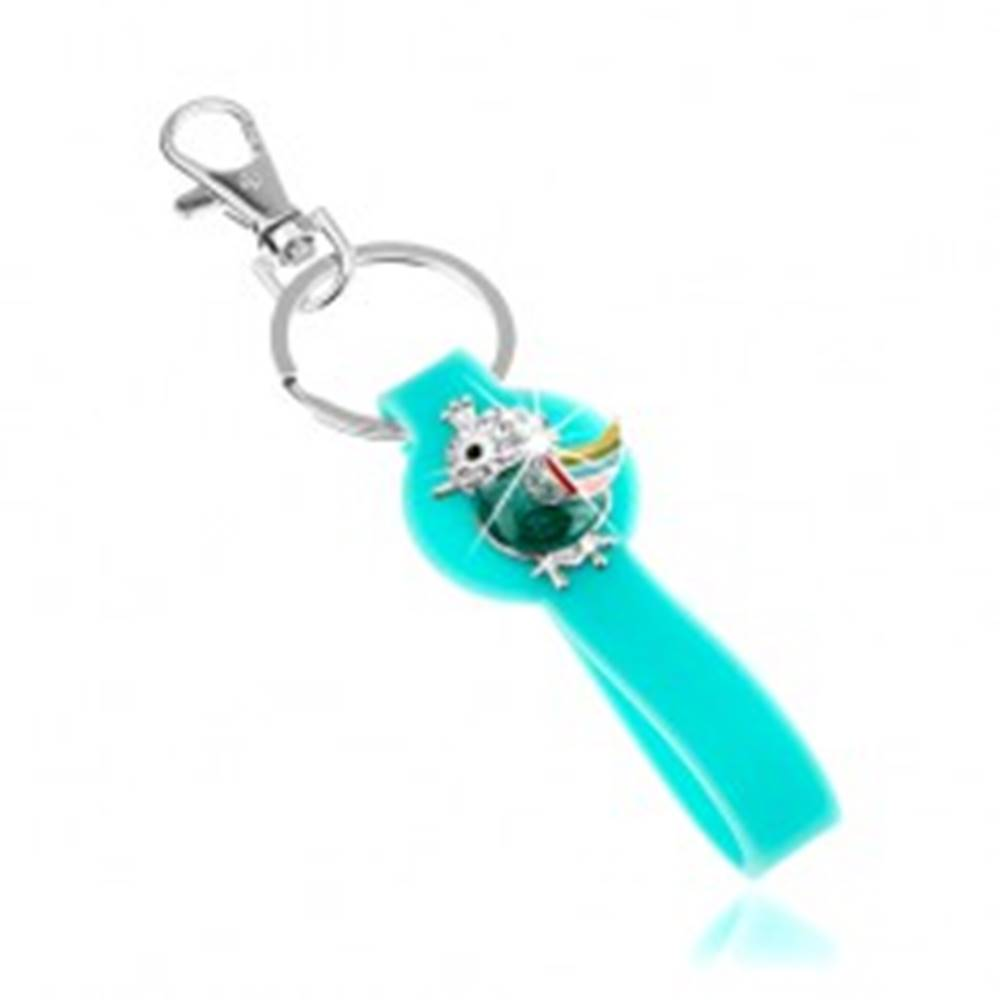 Šperky eshop Prívesok na kľúče, silikónová časť v tyrkysovej farbe, pestrofarebný vtáčik