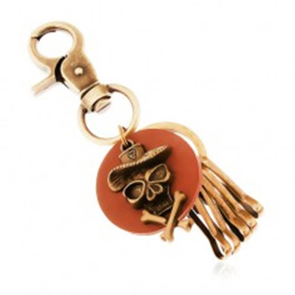 Šperky eshop Prívesok na kľúče v mosadznom odtieni, hnedý kruh, lebka v klobúku