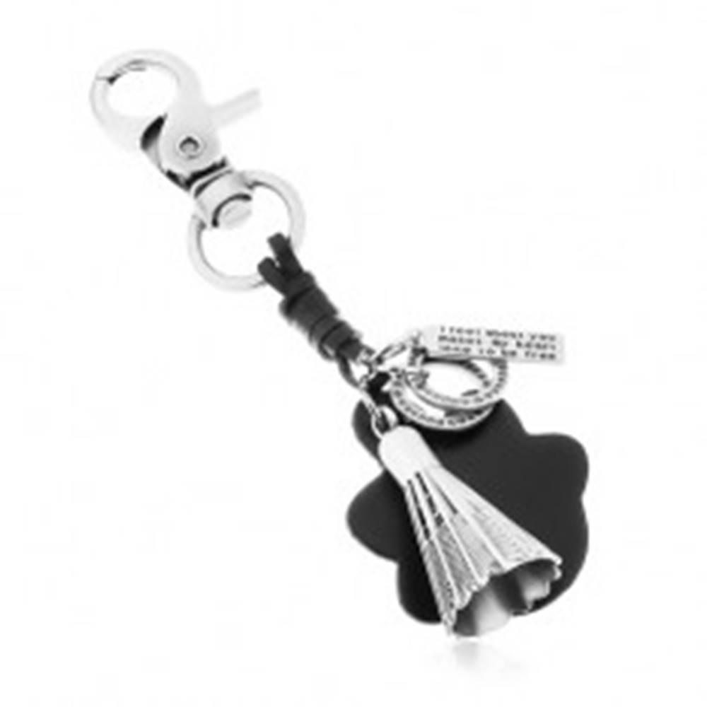 Šperky eshop Prívesok na kľúče v sivej a čiernej farbe, bedmintonový košík, známka a kruhy