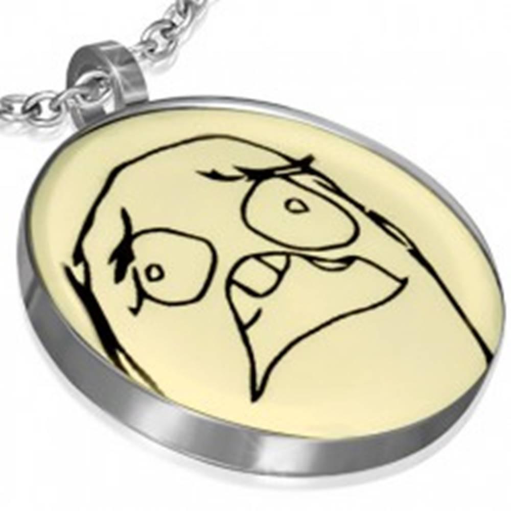 Šperky eshop Prívesok z ocele - HORROR MEME FACE, okrúhly