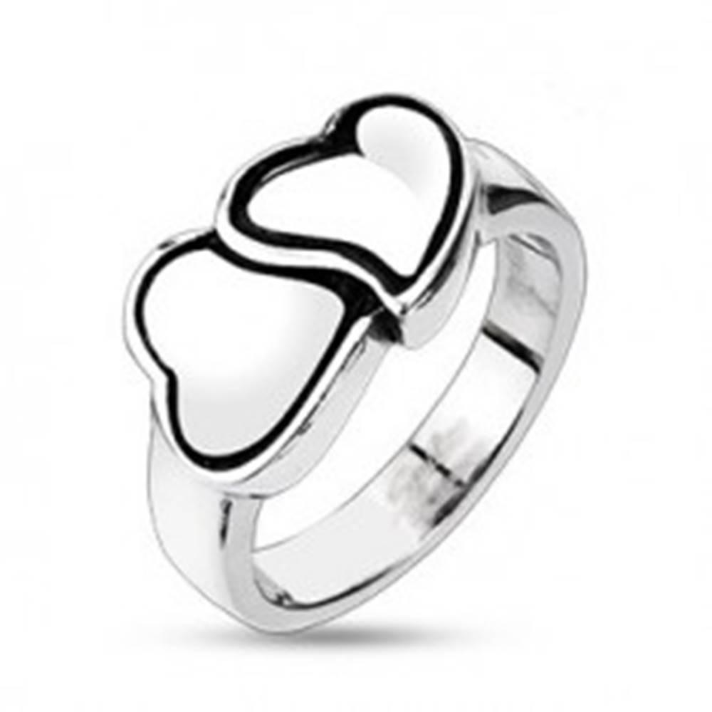 Šperky eshop Prsteň z chirurgickej ocele - dvojité srdiečko - Veľkosť: 49 mm