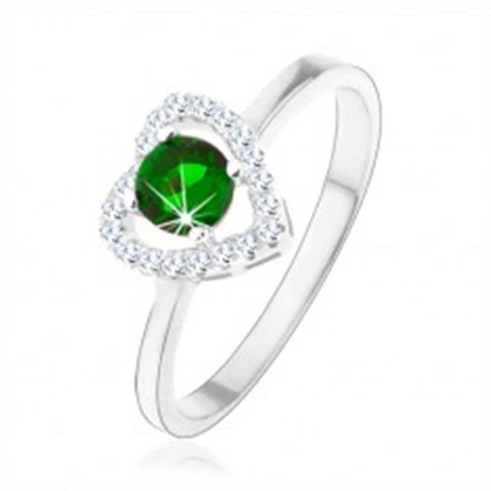 Šperky eshop Prsteň zo striebra 925, ligotavá kontúra srdca, zelený okrúhly zirkón - Veľkosť: 46 mm