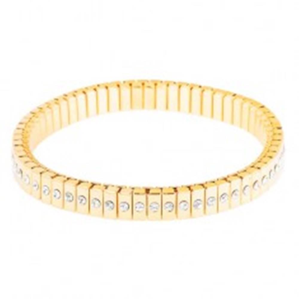 Šperky eshop Rozťahovací náramok z chirurgickej ocele zlatej farby, úzke články so zirkónmi