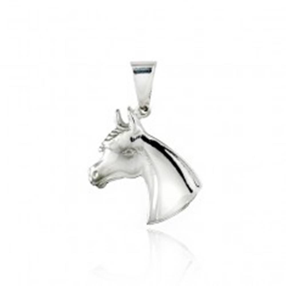 Šperky eshop Strieborný prívesok 925 - hlava koníka, 20 mm