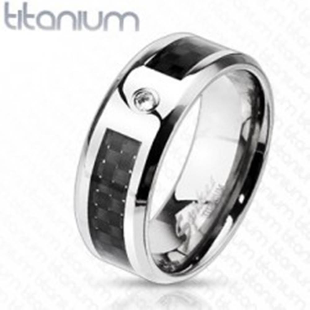 Šperky eshop Titánový  prsteň s mriežkou a zirkónom - Veľkosť: 59 mm