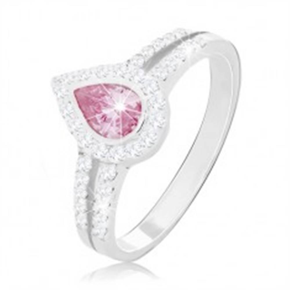 Šperky eshop Zásnubný prsteň zo striebra 925, ružová kvapka medzi dvoma líniami zirkónikov - Veľkosť: 49 mm