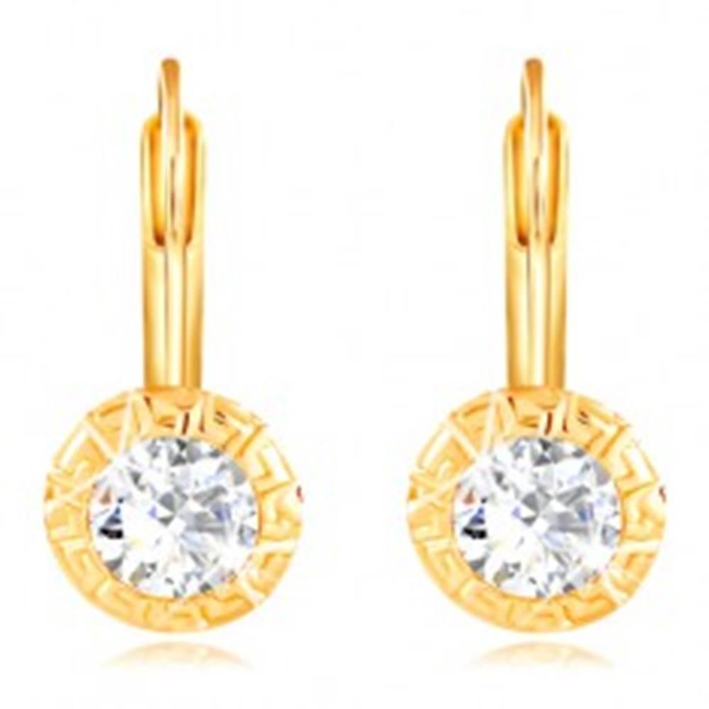 Šperky eshop Zlaté 14K náušnice - okrúhla objímka s gréckym kľúčom, brúsený číry zirkón, 4,5 mm