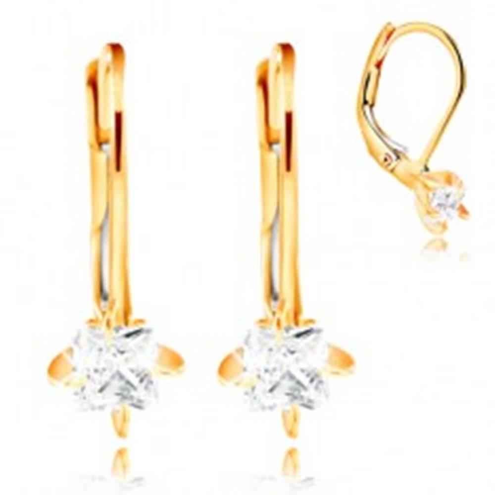 Šperky eshop Zlaté náušnice 585 - štyri zahnuté kolíky, číry zirkónový štvorec, 3,5 mm