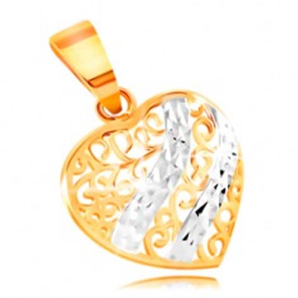 Šperky eshop Zlatý prívesok 585 - vypuklé srdce zdobené filigránom a vlnkami z bieleho zlata