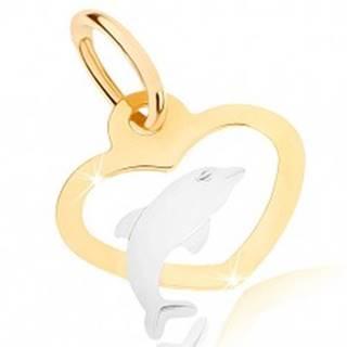 Dvojfarebný prívesok v 9K zlate - obrys súmerného srdca, delfínik