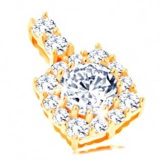 Ligotavý zlatý prívesok 585 - štvorcový zirkónový obrys, okrúhly číry zirkón