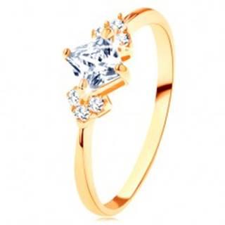 Ligotavý zlatý prsteň 585 - číry zirkónový štvorček, číre zirkóniky po stranách - Veľkosť: 49 mm