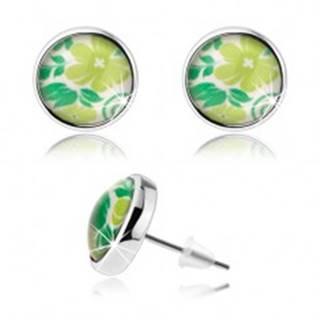 Náušnice cabochon, číra glazúra, puzetky, zelený kvet, listy, biely podklad