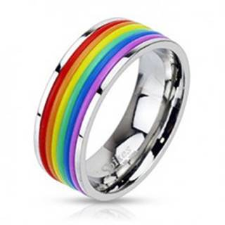 Oceľový prsteň s dúhovým gumeným stredom - Veľkosť: 54 mm