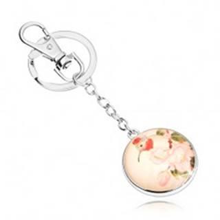 Prívesok na kľúče v štýle cabochon, kruh s čírym vypuklým sklom, vtáčik, kvety