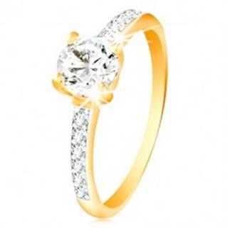 Prsteň v 14K zlate - číry zirkón v kotlíku, línie zirkónikov na ramenách - Veľkosť: 49 mm