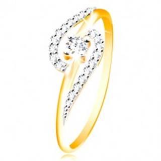 Prsteň zo 14K zlata - číre zirkónové oblúky, väčší okrúhly zirkón uprostred - Veľkosť: 48 mm