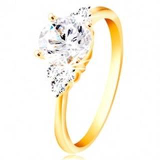 Prsteň zo 14K zlata - veľký číry zirkón v strede, trojice zirkónikov po stranách - Veľkosť: 49 mm