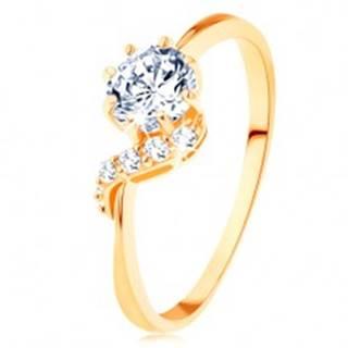 Prsteň zo žltého 14K zlata - okrúhly zirkón čírej farby, ligotavá vlnka - Veľkosť: 49 mm
