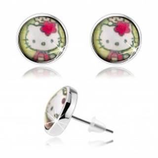 Puzetové náušnice v štýle cabochon, vypuklé sklo, Hello Kitty, zelené pozadie