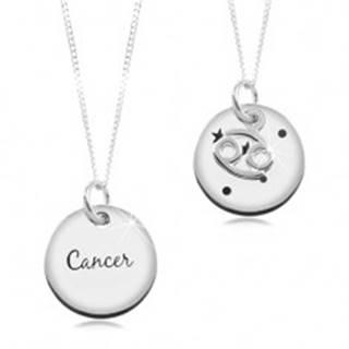 Strieborný náhrdelník 925, retiazka a okrúhly prívesok - znamenie RAK