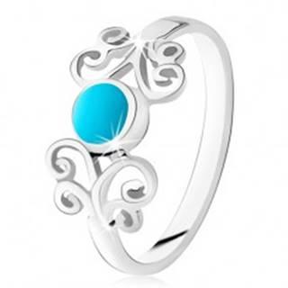 Strieborný prsteň 925, okrúhly tyrkys, lesklé ornamenty, úzke ramená - Veľkosť: 49 mm