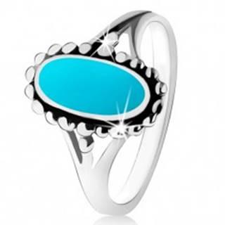 Strieborný prsteň 925, ovál z tyrkysu, kontúra z guličiek, rozdelené ramená - Veľkosť: 49 mm