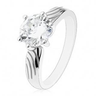 Strieborný prsteň 925, veľký okrúhly zirkón čírej farby, zárezy na ramenách - Veľkosť: 50 mm
