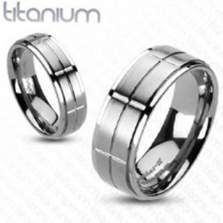 Titánový prsteň s matnými obdĺžnikmi - Veľkosť: 49 mm