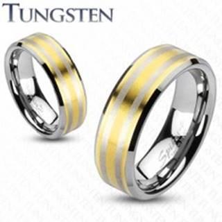 Tungstenová obrúčka  s dvoma pásikmi zlatej farby - Veľkosť: 49 mm